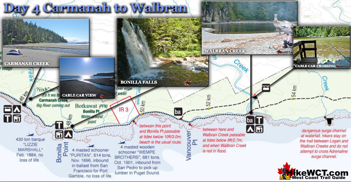 West Coast Trail Day 4 Map - Carmanah to Walbran