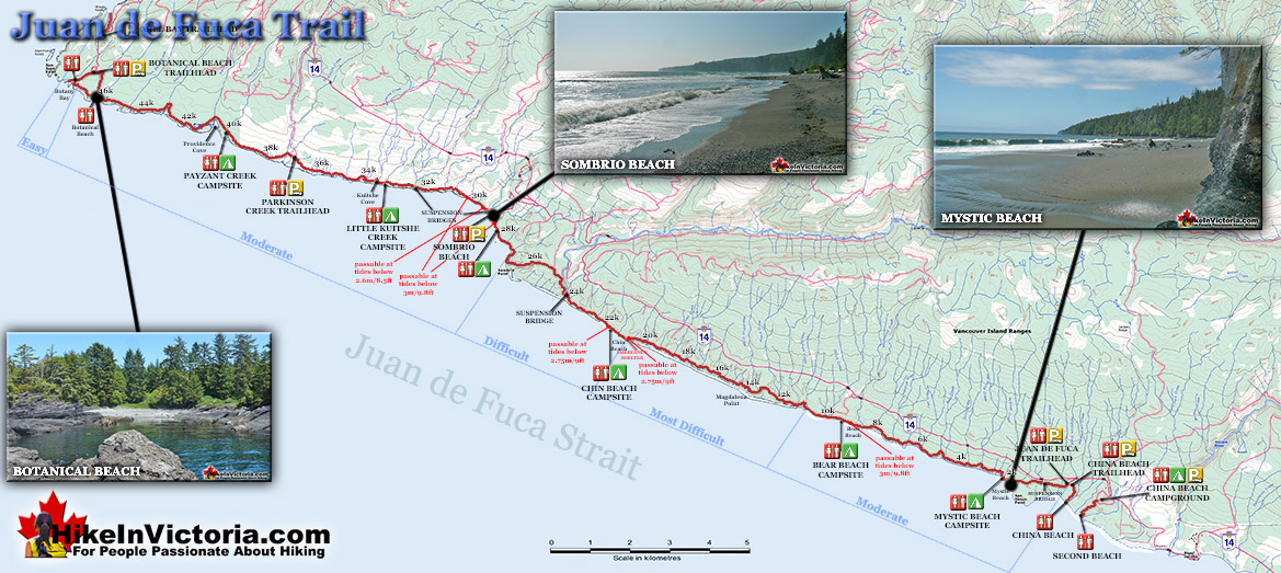 Juan de Fuca Trail Map